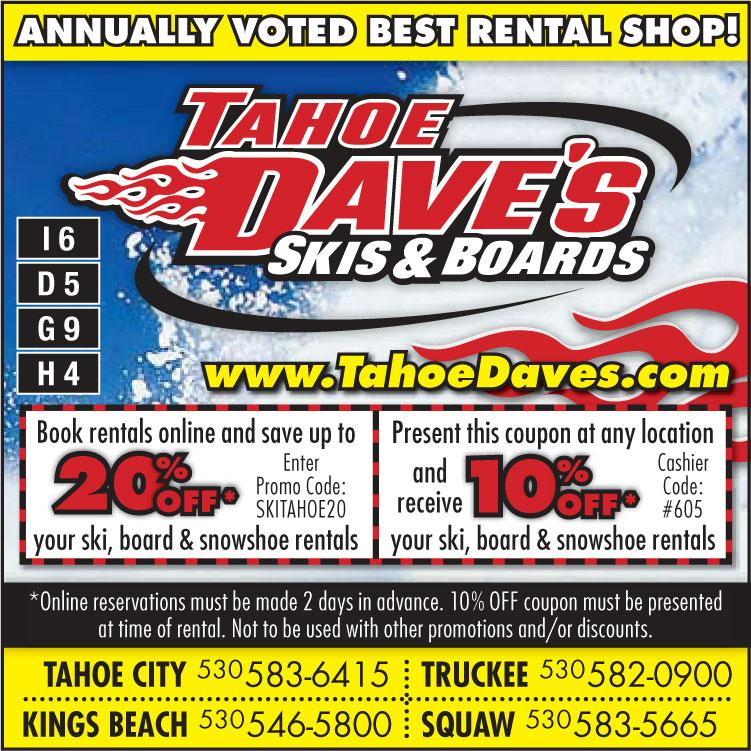 Tahoe Daves Coupon