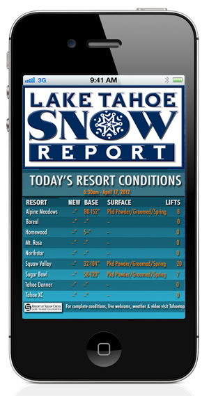 Tahoe TV Lake Tahoe App screenshot - Snow Report